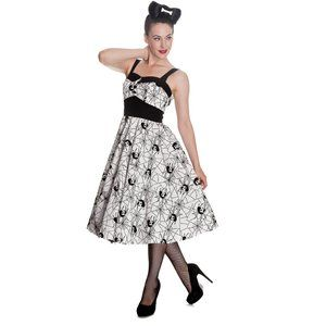 Hell Bunny Flocked Black & White  Dress Medium